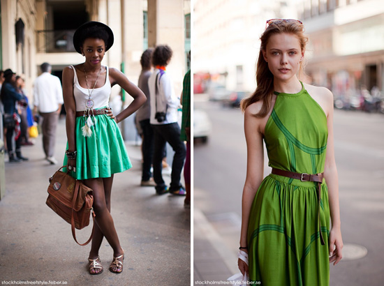 Stockholm Street Style ladies wearing green