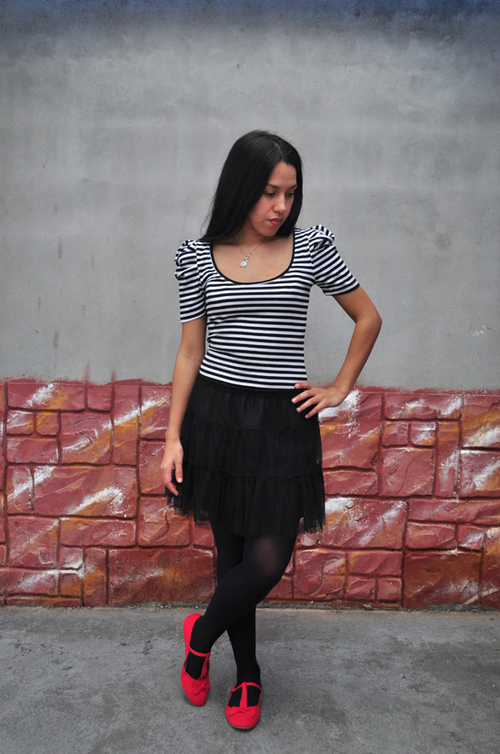 Tutu skirt, striped top, t-strap shoes