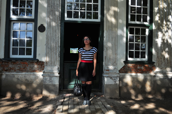 Anthea, Embracing Style, Black white and red dress, OTK socks, grey brogues