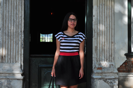 Anthea, Embracing Style, Red black and white dress