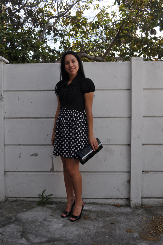 Anthea, Embracing Style, polka dot dress, cropped jacket, clutch bag