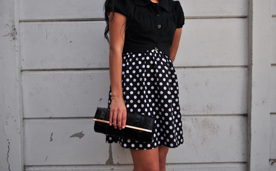 polka dot dress, cropped jacket, clutch bag