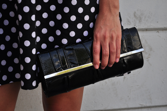 polka dot dress, clutch bag