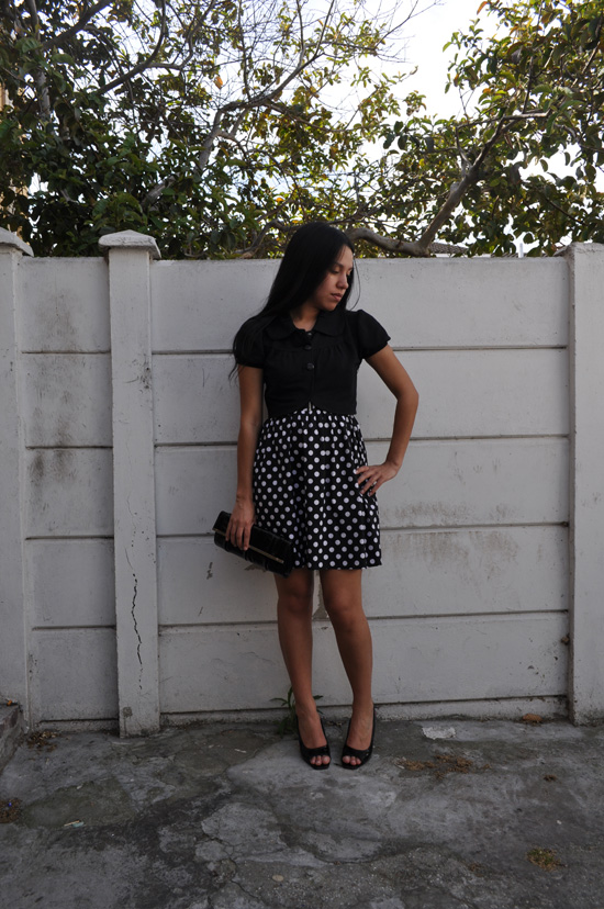 Anthea, Embracing Style, cropped jacket, polka dot dress, clutch bag
