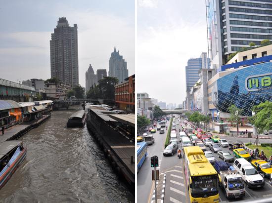 Barges down canal and traffic past MBK mall in Bangkok