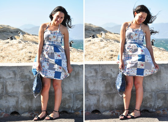 Anthea, Embracing Style, blue and white patch halterneck dress, vintage bag, Kate and Allie sandals