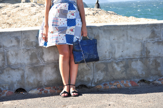 Blue and white patch dress, vintage leather bag, Kate and Allie sandals