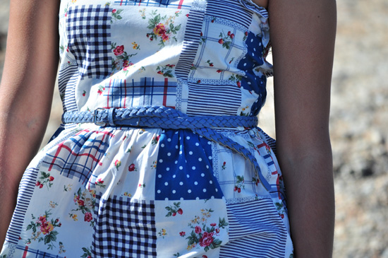 Blue and white patch dress, blue braided belt