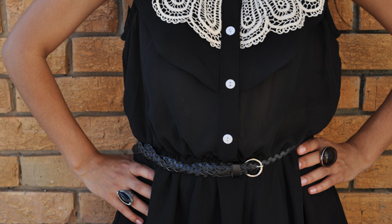 Black crochet sheer dress, braided belt, cocktails rings