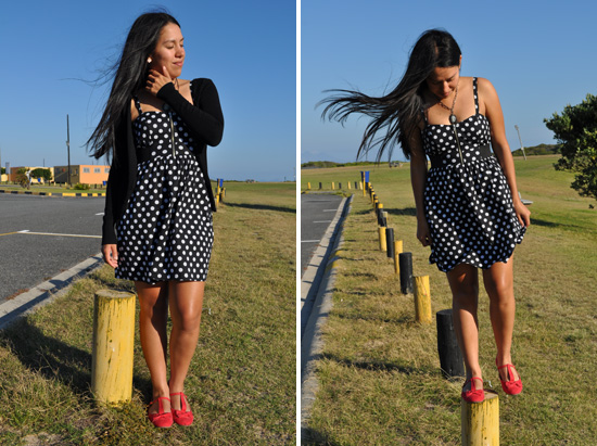Anthea, Embracing Style, Black and white polka dot dress, red t-strap pumps