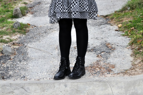 houndstooth dress, combat boots