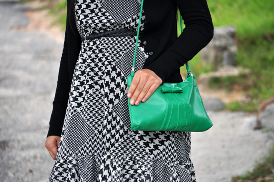 Anthea, Embracing Style, houndstooth dress, green vintage bag