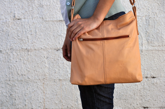 Anthea, Embracing Style, Outfit post, Peach leather sling bag