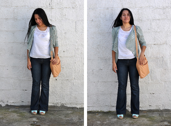 Anthea, Embracing Style, Outfit post, Silverspoon cardigan, Peach leather sling bag, Mr Price espadrilles