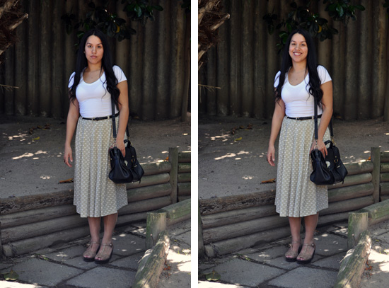 Anthea, Embracing Style, Oufit post, leather satchel, vintage skirt, wedges