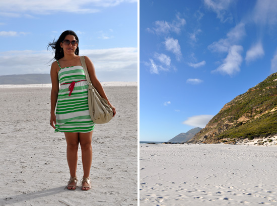 Embracing Style, outfit post, Green and white Mr Price Dress, Noordhoek Beach