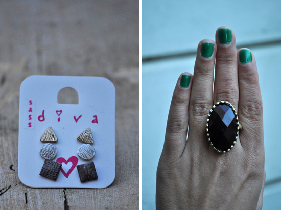 Earrings from Sass Diva and Ring From For Flavour at YDE