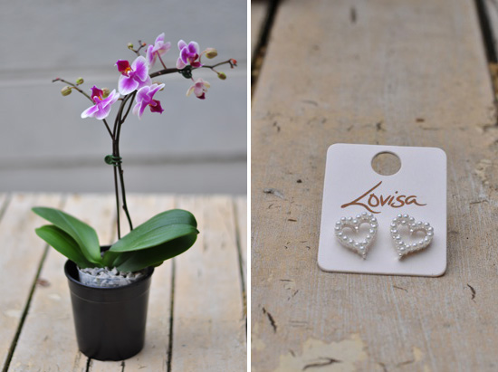 Orchid from Woolworths; Heart earrings from Lovisa