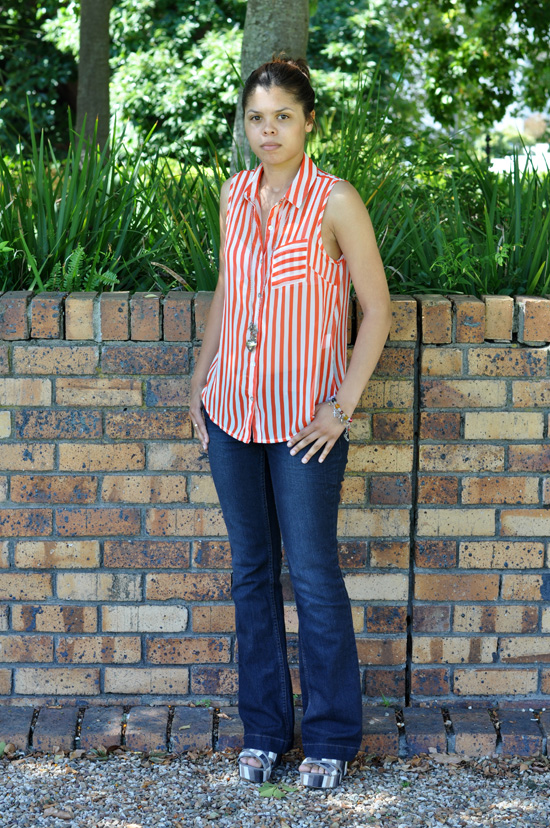 Abigail Personal Style - Orange Sheer Blouse, Canvas Wedge Heels