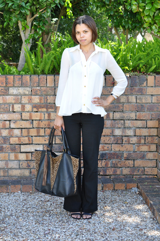 Abigail Personal Style - White Sheer Blouse, Animal Bag