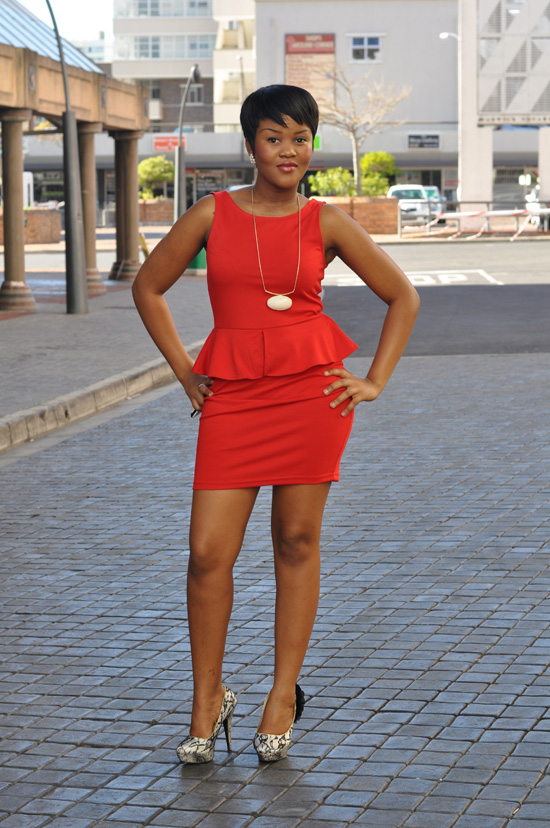 Cape Town Steet Style, Red Peplum Dress, Snakesskin Shoes