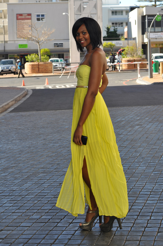 Cape Town Steet Style, Yellow Maxi Dress, Silver High Heels