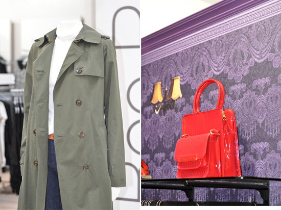 Khaki trench coat and red Ted Baker bag at Stuttafords Emporium in Cavendish Square
