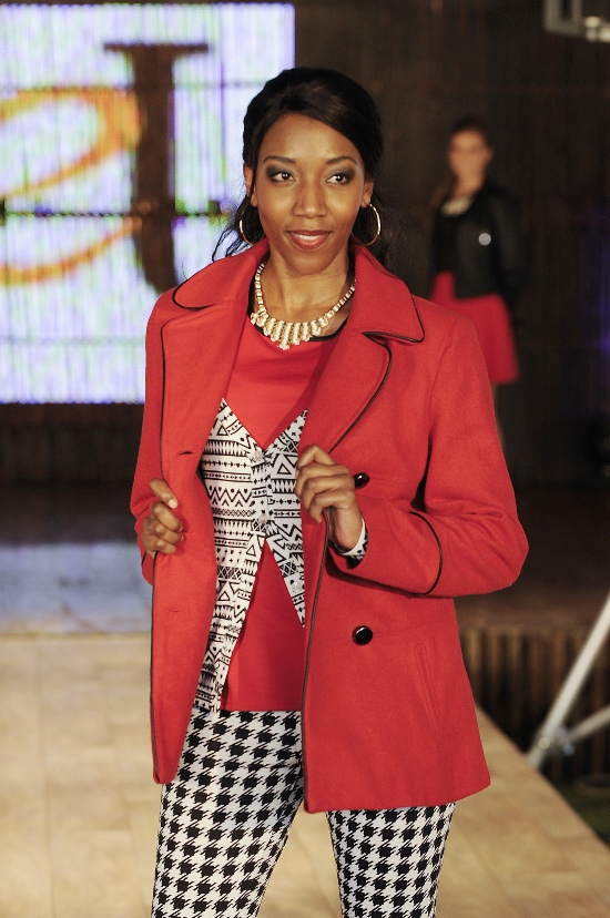 Model wearing houndstooth at The Jet Winter Launch 2014