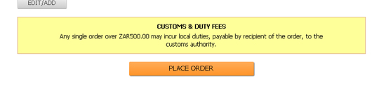 ASOS under R500 customs message