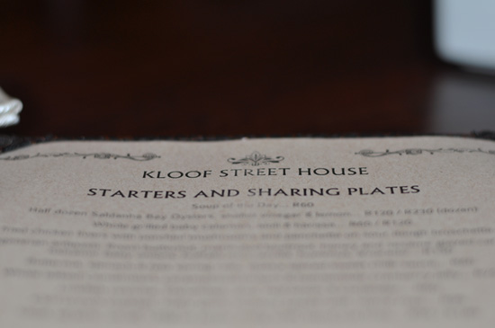 Kloof Street House Menu