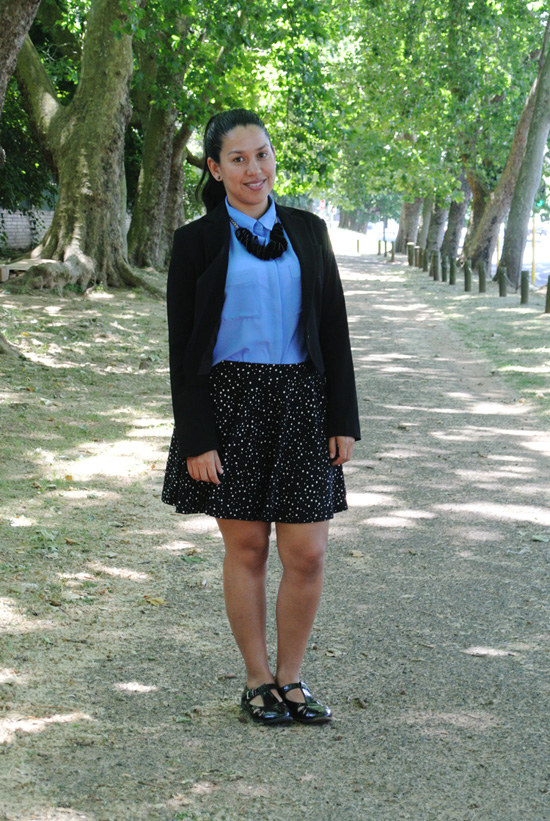 Embracing Style, Outfit post, Skater Skirt and Blazer