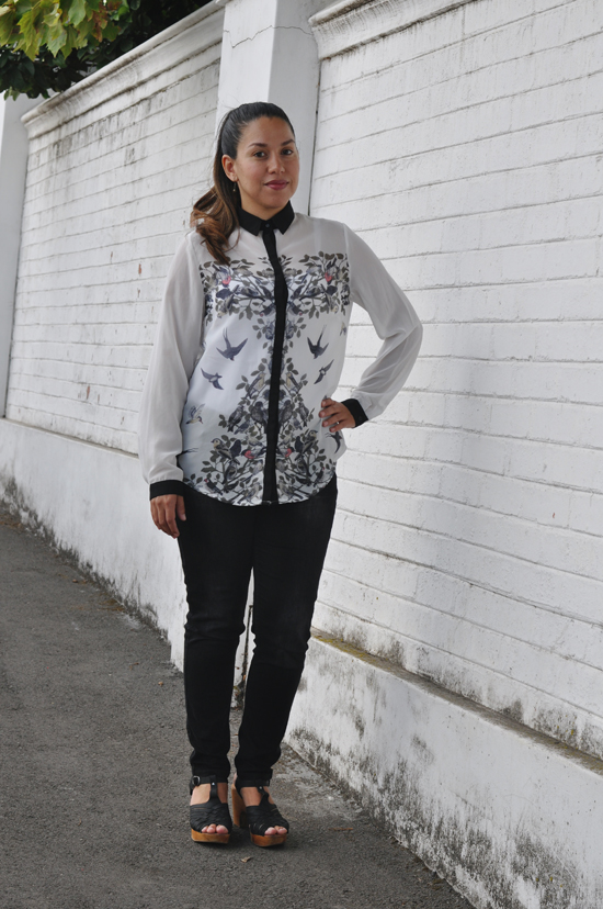 Embracing Style Outfit - Bird Print Shirt