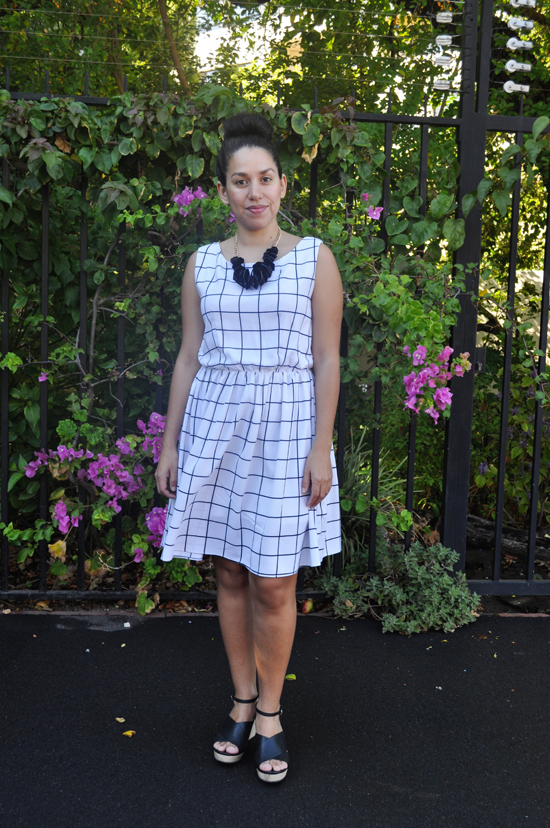 Embracing Style, Monochrome Grid Dress